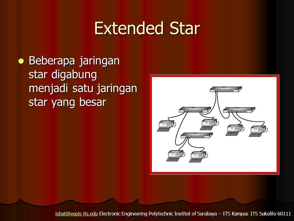 Extended Star Beberapa jaringan star digabung menjadi satu jaringan star yang besar
