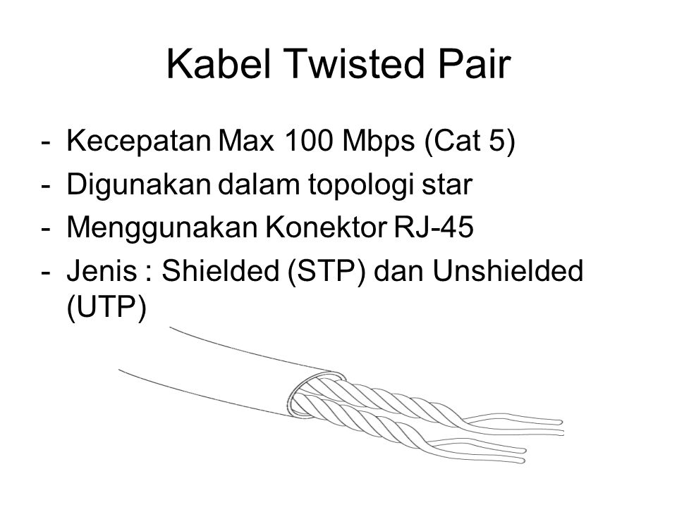 Kabel Twisted Pair Kecepatan Max 100 Mbps (Cat 5)