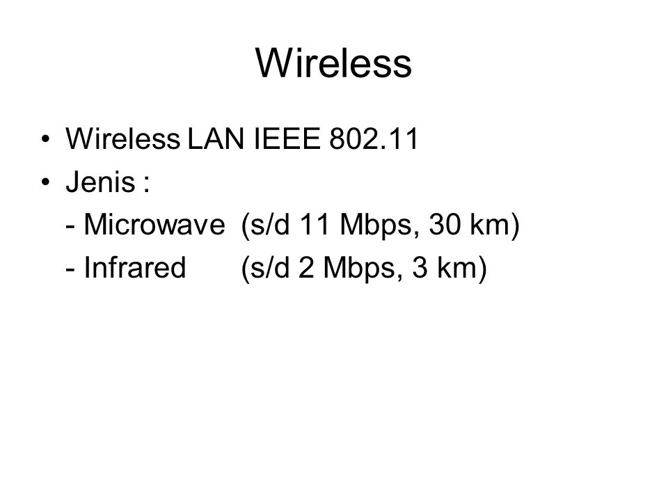 Wireless Wireless LAN IEEE 802.11 Jenis :