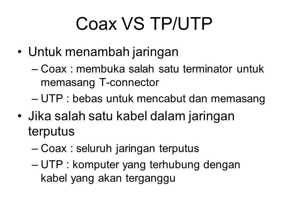 Coax VS TP/UTP Untuk menambah jaringan