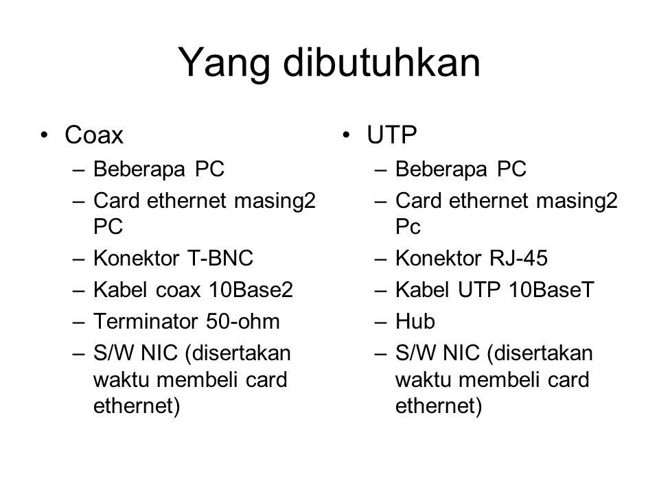 Yang dibutuhkan Coax UTP Beberapa PC Card ethernet masing2 PC
