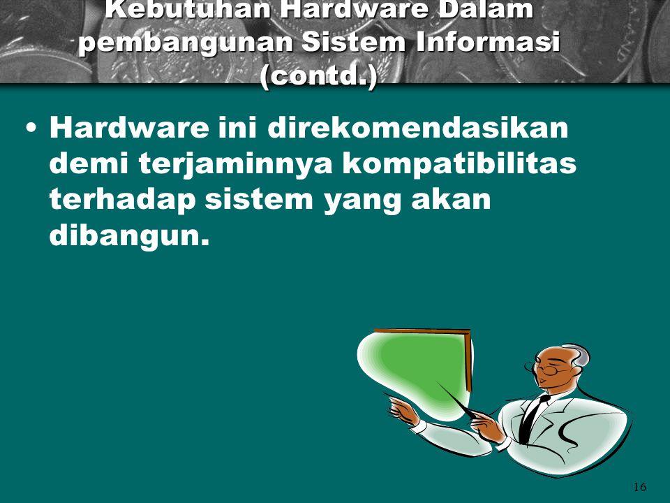 Kebutuhan Hardware Dalam pembangunan Sistem Informasi (contd.)