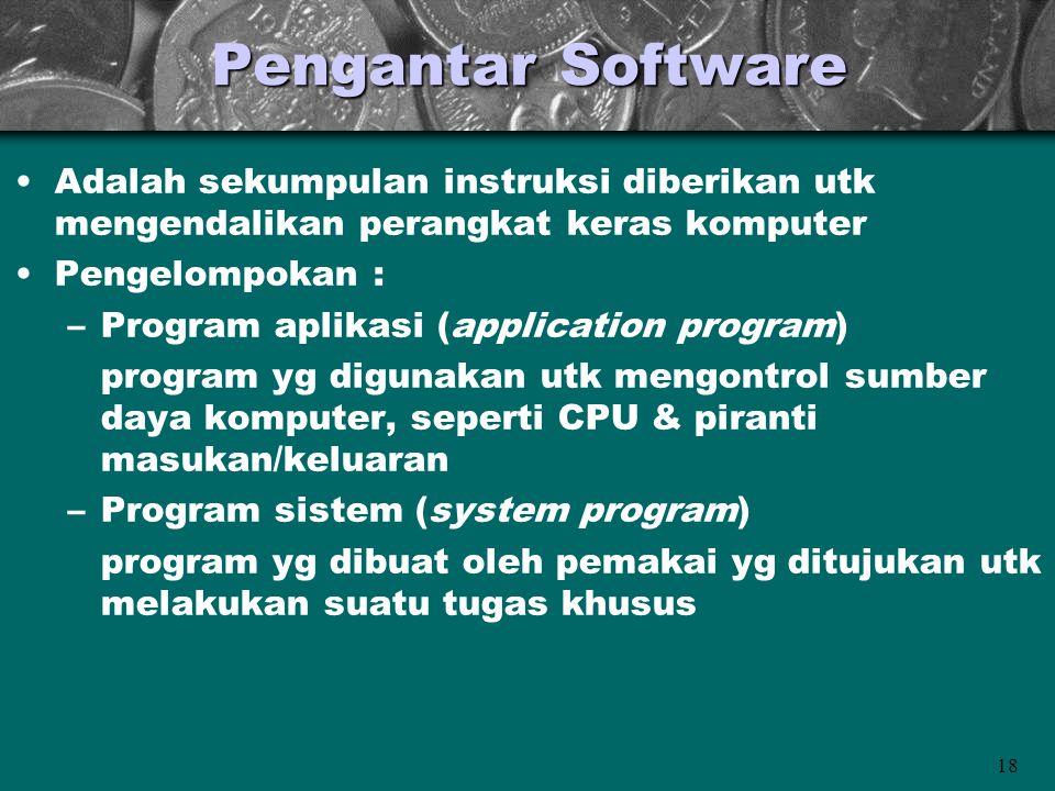 Pengantar Software Adalah sekumpulan instruksi diberikan utk mengendalikan perangkat keras komputer.