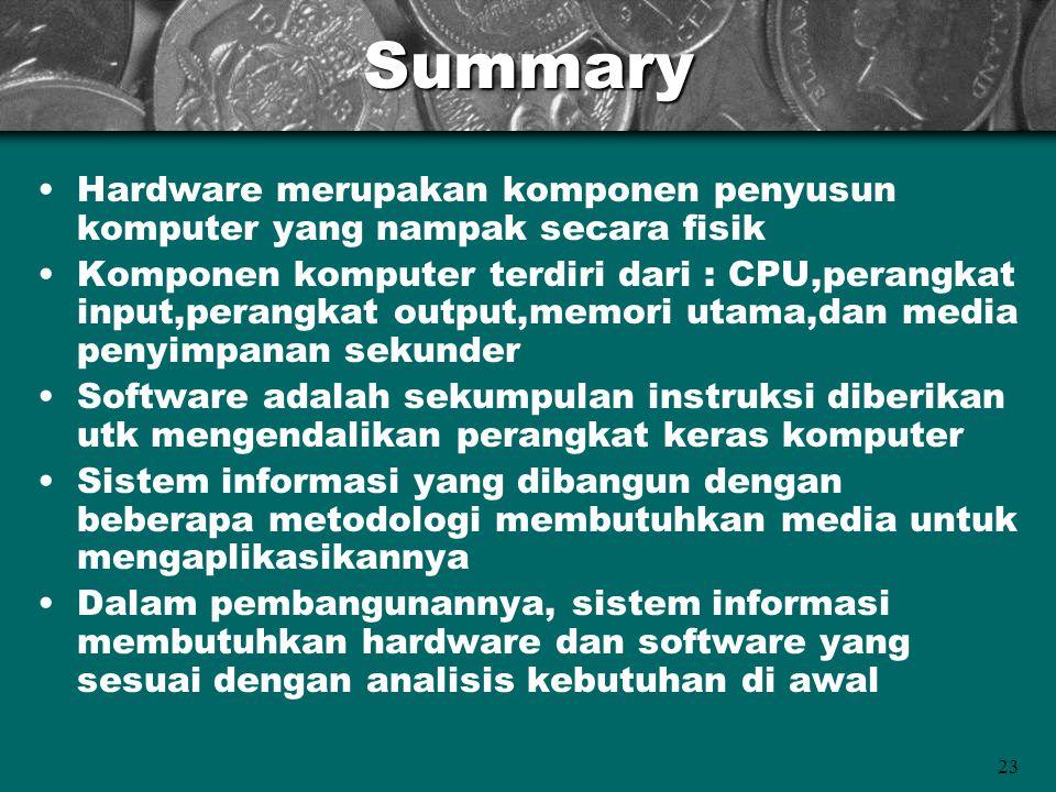 Summary Hardware merupakan komponen penyusun komputer yang nampak secara fisik.