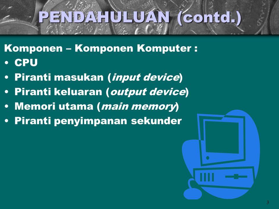PENDAHULUAN (contd.) Komponen – Komponen Komputer : CPU