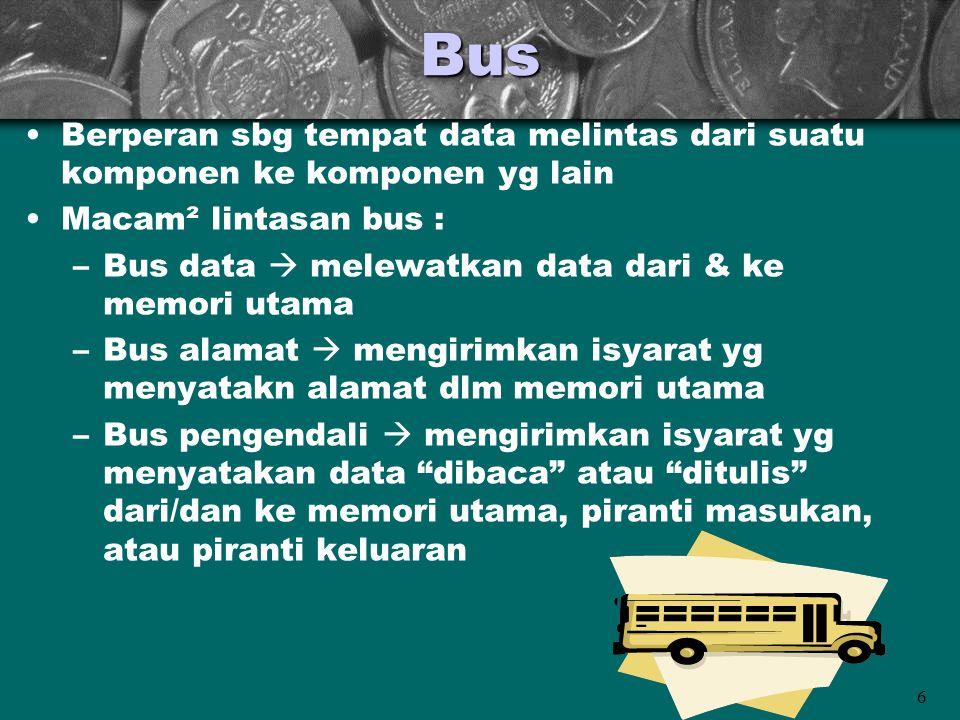 Bus Berperan sbg tempat data melintas dari suatu komponen ke komponen yg lain. Macam² lintasan bus :