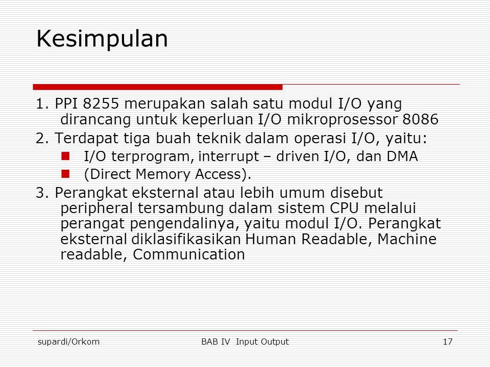 Kesimpulan 1. PPI 8255 merupakan salah satu modul I/O yang dirancang untuk keperluan I/O mikroprosessor 8086.
