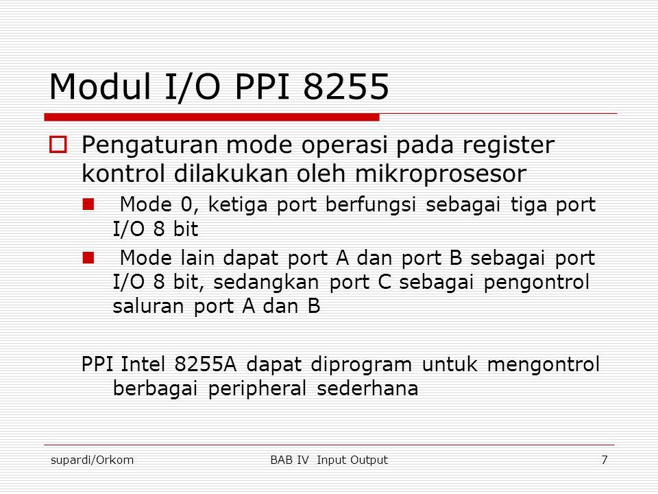 Modul I/O PPI 8255 Pengaturan mode operasi pada register kontrol dilakukan oleh mikroprosesor.