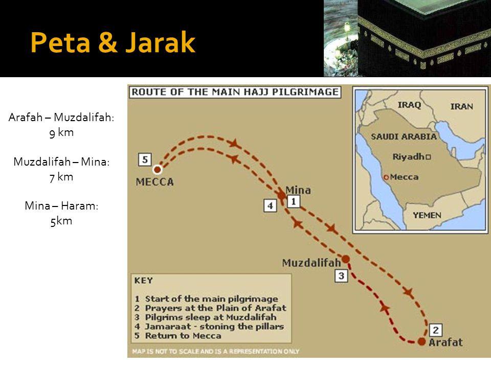 Peta & Jarak Arafah – Muzdalifah: 9 km Muzdalifah – Mina: 7 km