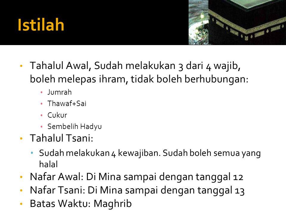 Istilah Tahalul Awal, Sudah melakukan 3 dari 4 wajib, boleh melepas ihram, tidak boleh berhubungan: