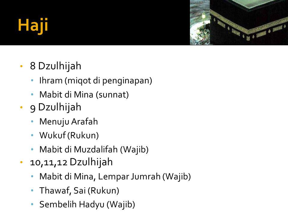 Haji 8 Dzulhijah 9 Dzulhijah 10,11,12 Dzulhijah