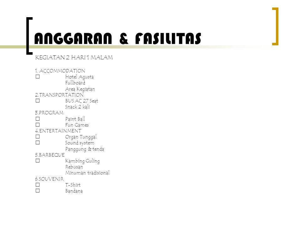 ANGGARAN & FASILITAS KEGIATAN 2 HARI 1 MALAM 1. ACCOMMODATION