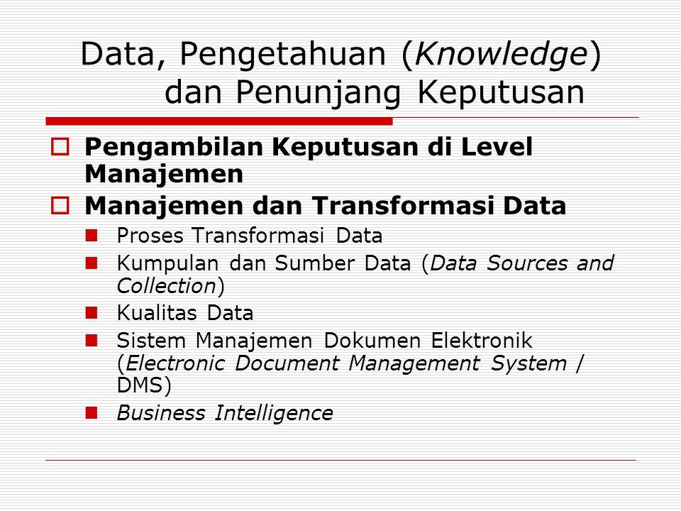 Data, Pengetahuan (Knowledge) dan Penunjang Keputusan