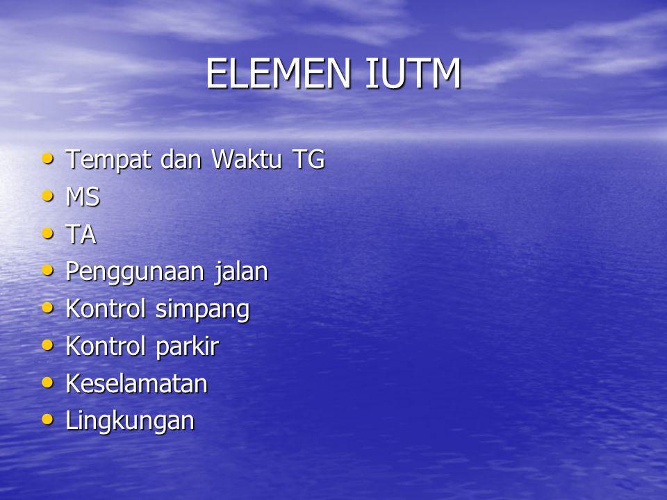ELEMEN IUTM Tempat dan Waktu TG MS TA Penggunaan jalan Kontrol simpang