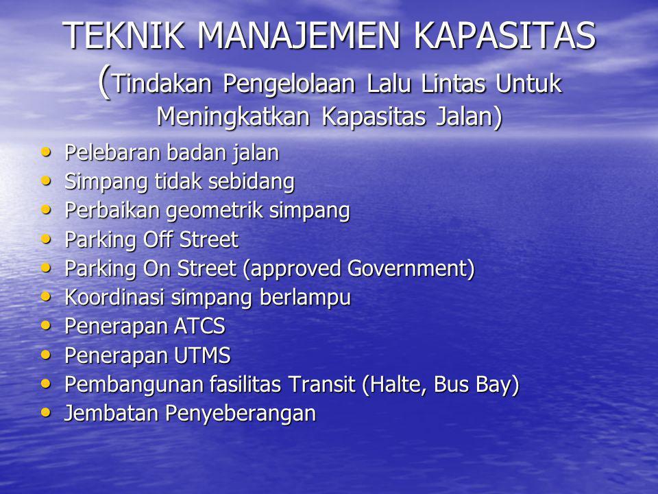 TEKNIK MANAJEMEN KAPASITAS (Tindakan Pengelolaan Lalu Lintas Untuk Meningkatkan Kapasitas Jalan)