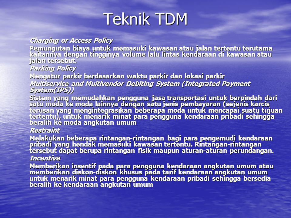 Teknik TDM Charging or Access Policy