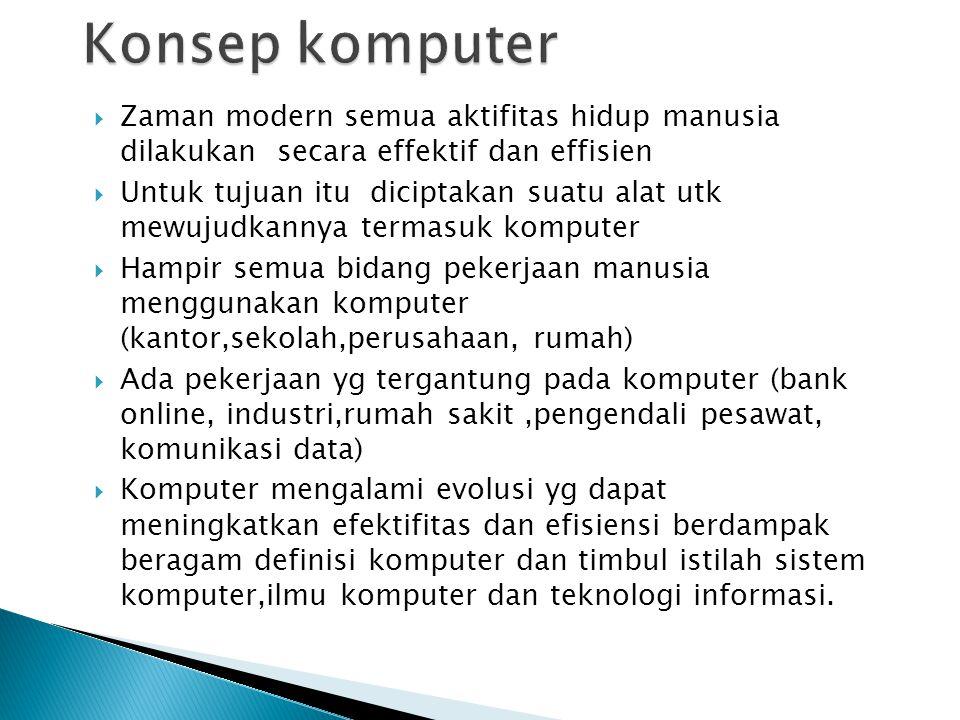 Konsep komputer Zaman modern semua aktifitas hidup manusia dilakukan secara effektif dan effisien.