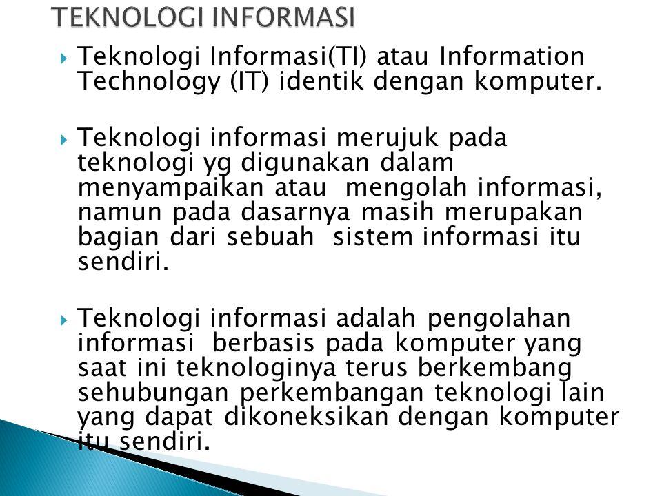 TEKNOLOGI INFORMASI Teknologi Informasi(TI) atau Information Technology (IT) identik dengan komputer.