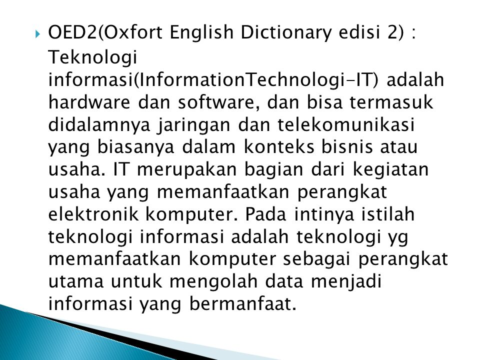 OED2(Oxfort English Dictionary edisi 2) :