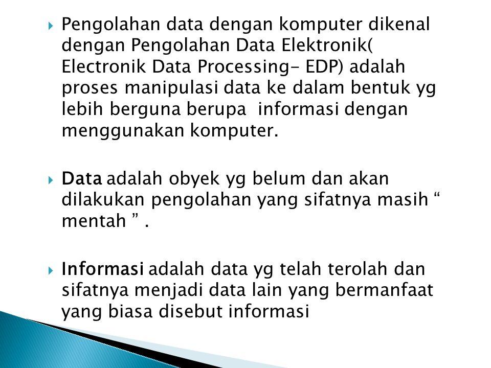 Pengolahan data dengan komputer dikenal dengan Pengolahan Data Elektronik( Electronik Data Processing- EDP) adalah proses manipulasi data ke dalam bentuk yg lebih berguna berupa informasi dengan menggunakan komputer.