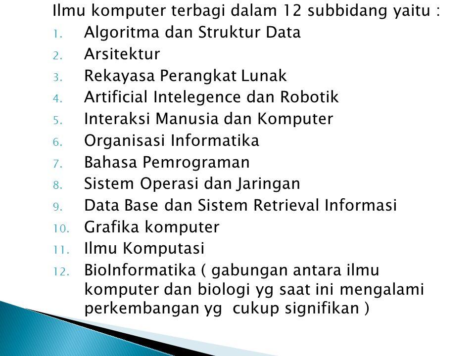 Ilmu komputer terbagi dalam 12 subbidang yaitu :