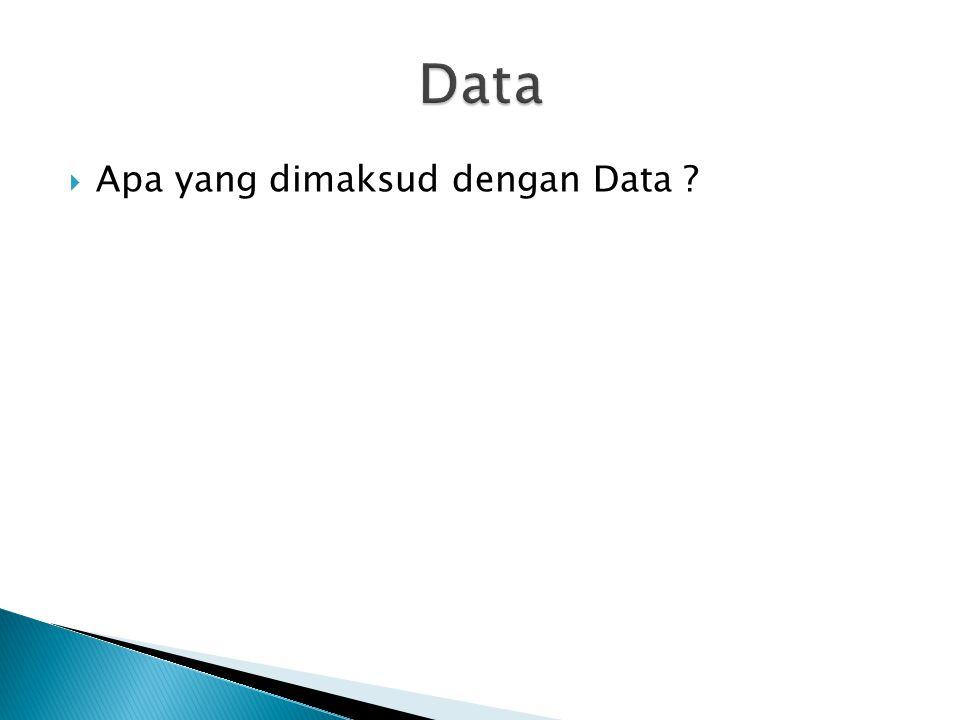 Data Apa yang dimaksud dengan Data