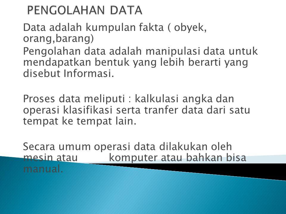 PENGOLAHAN DATA Data adalah kumpulan fakta ( obyek, orang,barang)