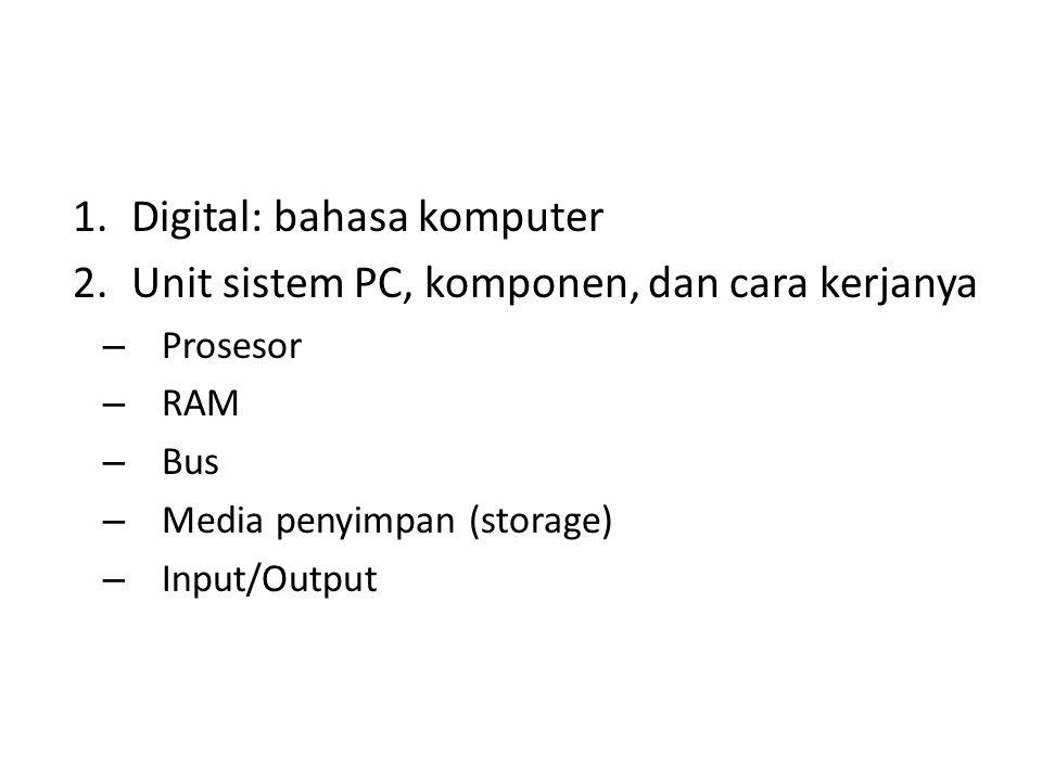 Digital: bahasa komputer Unit sistem PC, komponen, dan cara kerjanya