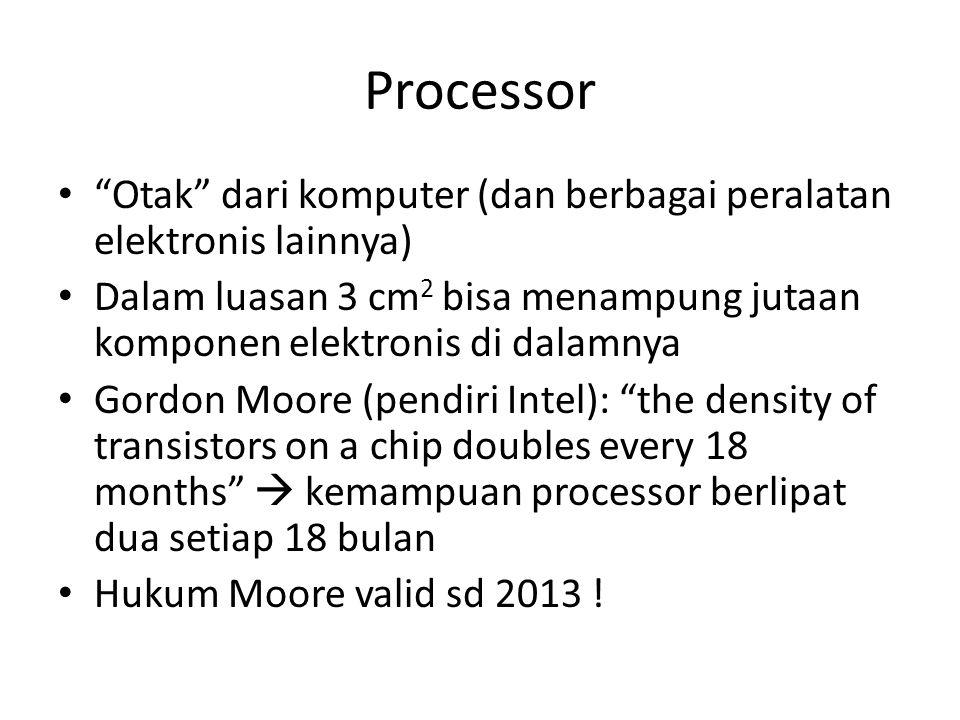 Processor Otak dari komputer (dan berbagai peralatan elektronis lainnya) Dalam luasan 3 cm2 bisa menampung jutaan komponen elektronis di dalamnya.