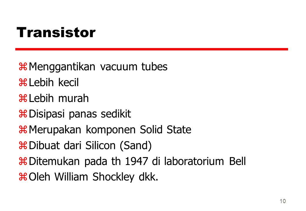 Transistor Menggantikan vacuum tubes Lebih kecil Lebih murah