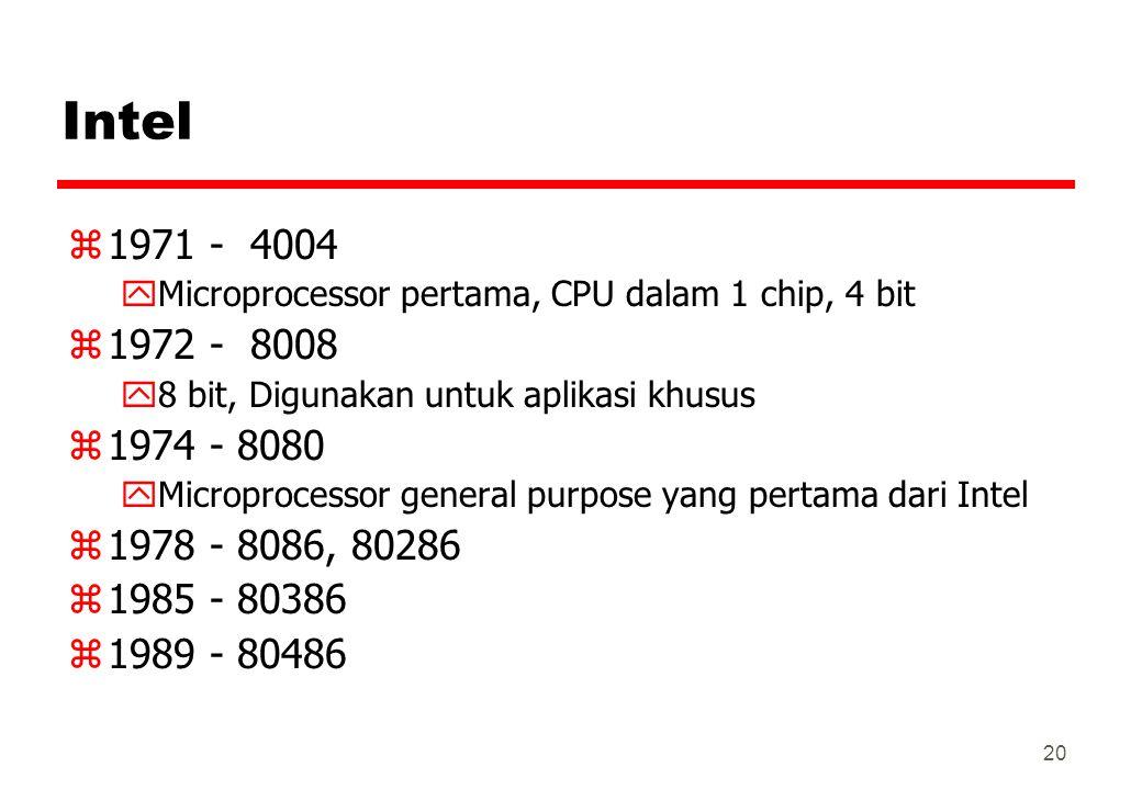 Intel 1971 - 4004. Microprocessor pertama, CPU dalam 1 chip, 4 bit. 1972 - 8008. 8 bit, Digunakan untuk aplikasi khusus.