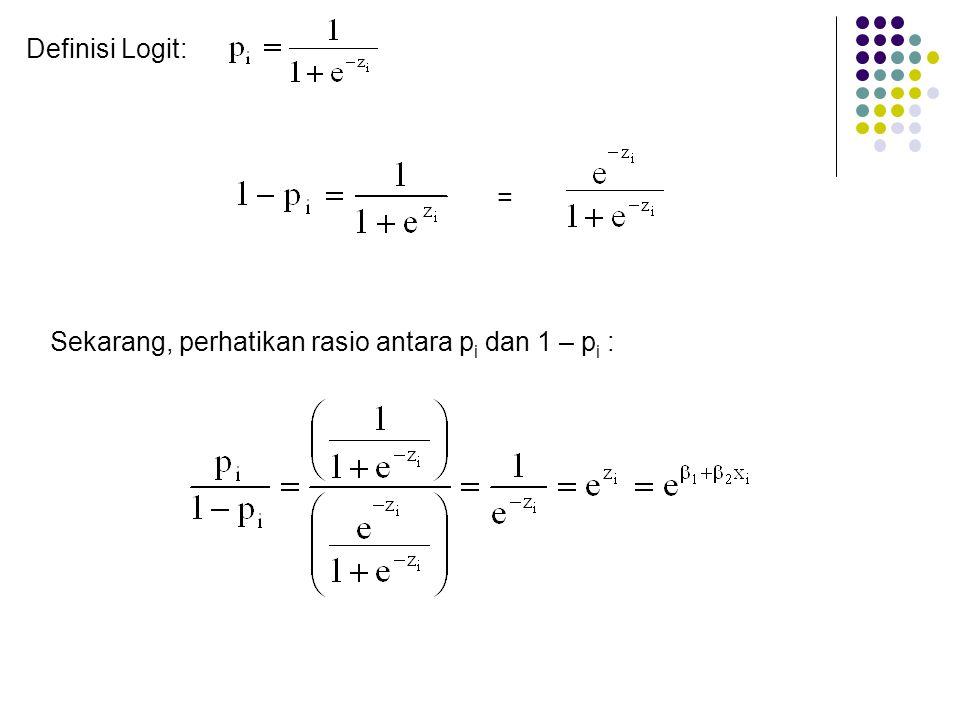 Definisi Logit: = Sekarang, perhatikan rasio antara pi dan 1 – pi :