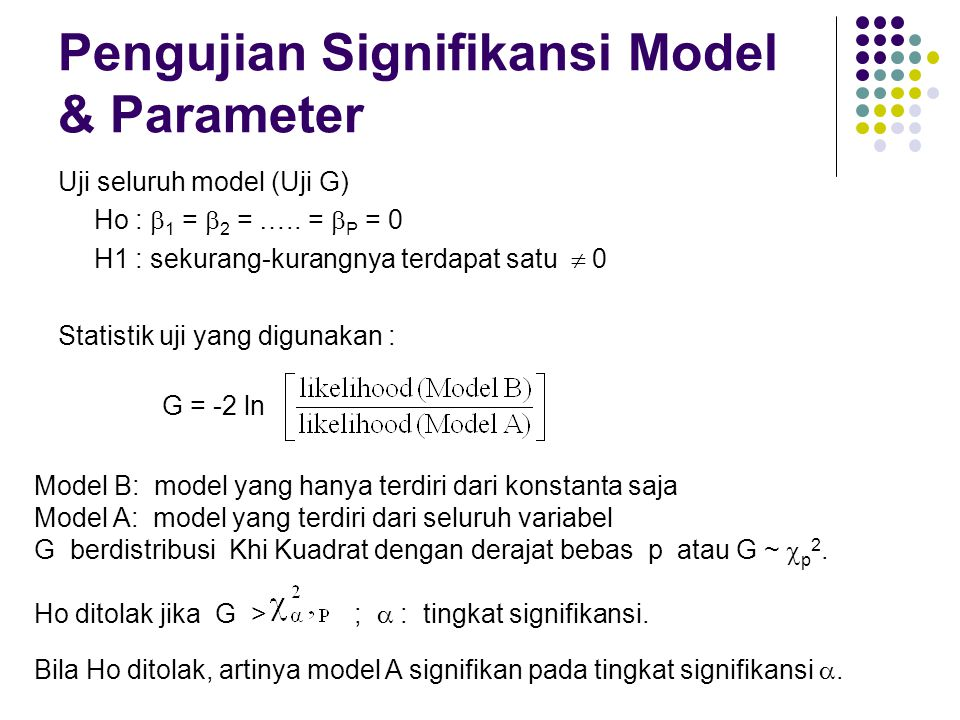 Pengujian Signifikansi Model & Parameter