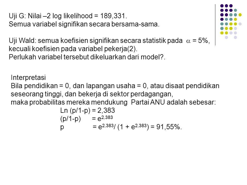 Uji G: Nilai –2 log likelihood = 189,331.