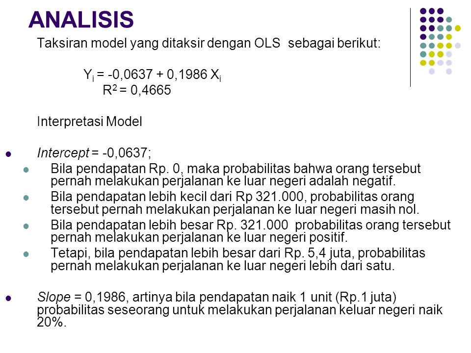 ANALISIS Taksiran model yang ditaksir dengan OLS sebagai berikut: