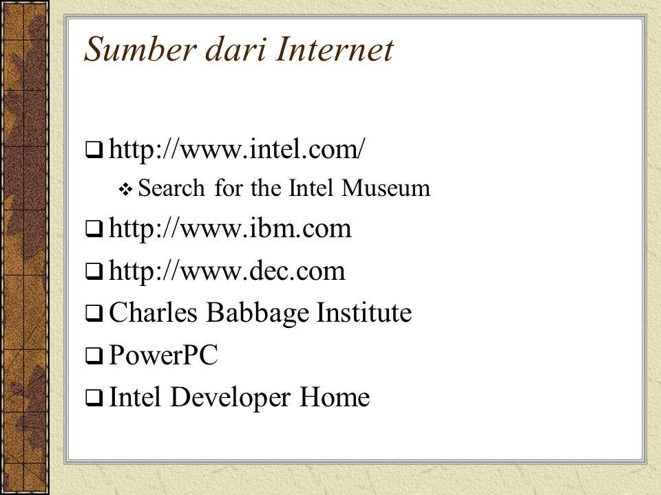 Sumber dari Internet http://www.intel.com/ http://www.ibm.com