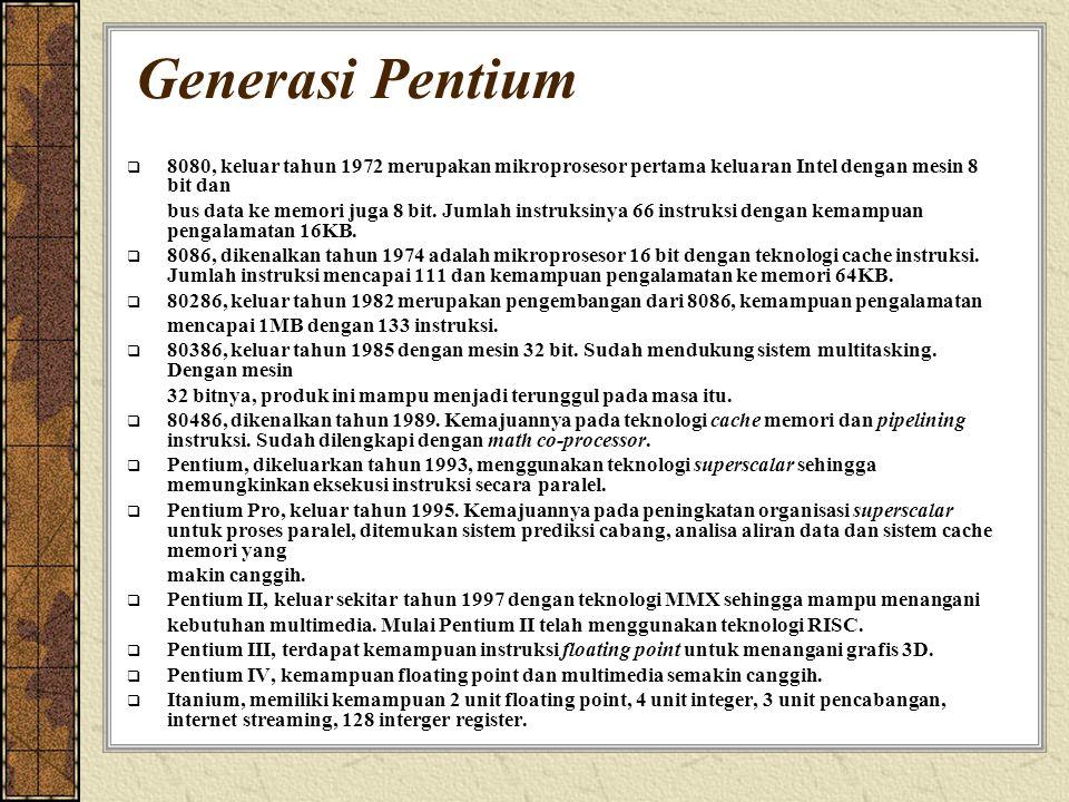 Generasi Pentium 8080, keluar tahun 1972 merupakan mikroprosesor pertama keluaran Intel dengan mesin 8 bit dan.