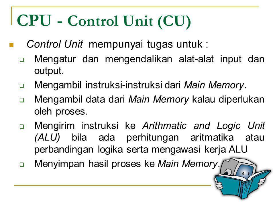 CPU - Control Unit (CU) Control Unit mempunyai tugas untuk :