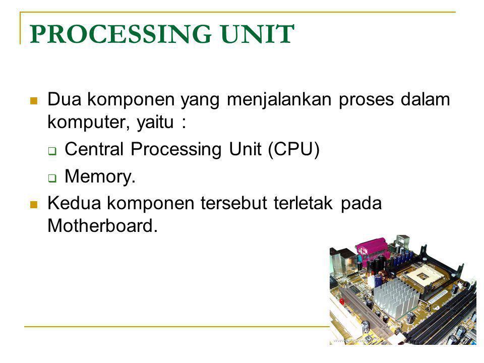 PROCESSING UNIT Dua komponen yang menjalankan proses dalam komputer, yaitu : Central Processing Unit (CPU)