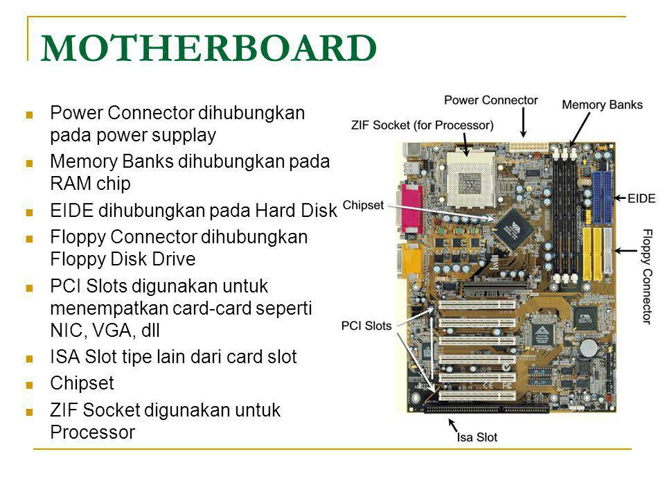 MOTHERBOARD Power Connector dihubungkan pada power supplay