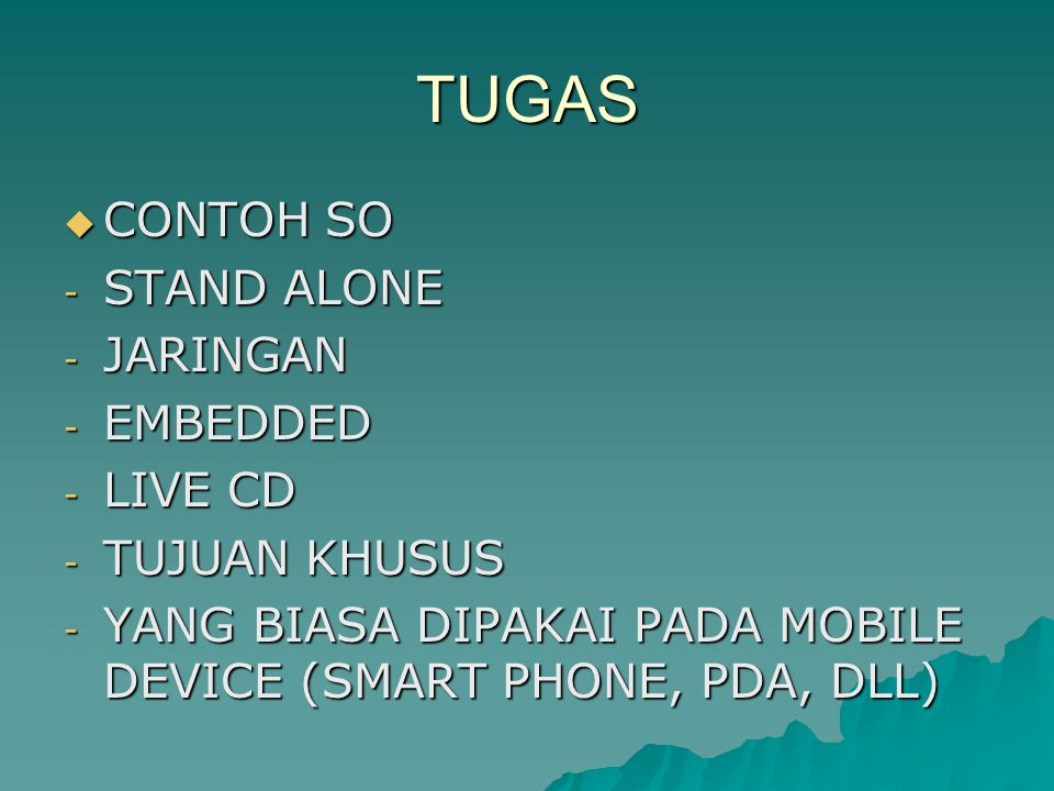 TUGAS CONTOH SO STAND ALONE JARINGAN EMBEDDED LIVE CD TUJUAN KHUSUS