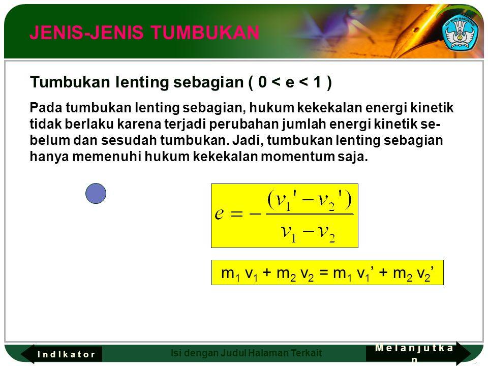 JENIS-JENIS TUMBUKAN Tumbukan lenting sebagian ( 0 < e < 1 )