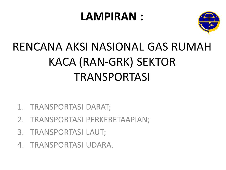 LAMPIRAN : RENCANA AKSI NASIONAL GAS RUMAH KACA (RAN-GRK) SEKTOR TRANSPORTASI