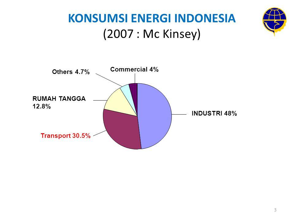 KONSUMSI ENERGI INDONESIA (2007 : Mc Kinsey)