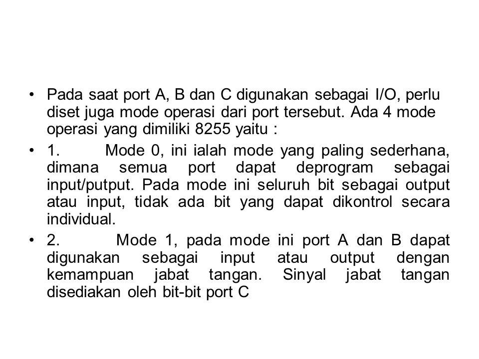 Pada saat port A, B dan C digunakan sebagai I/O, perlu diset juga mode operasi dari port tersebut. Ada 4 mode operasi yang dimiliki 8255 yaitu :
