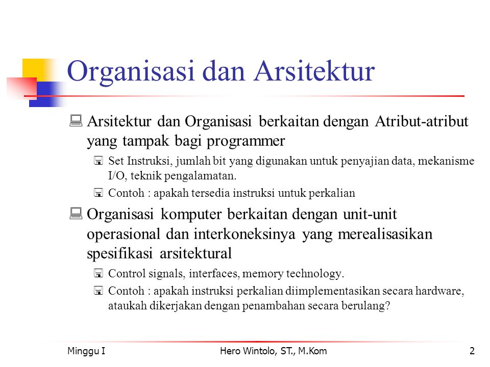 Organisasi dan Arsitektur