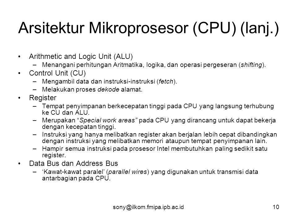 Arsitektur Mikroprosesor (CPU) (lanj.)