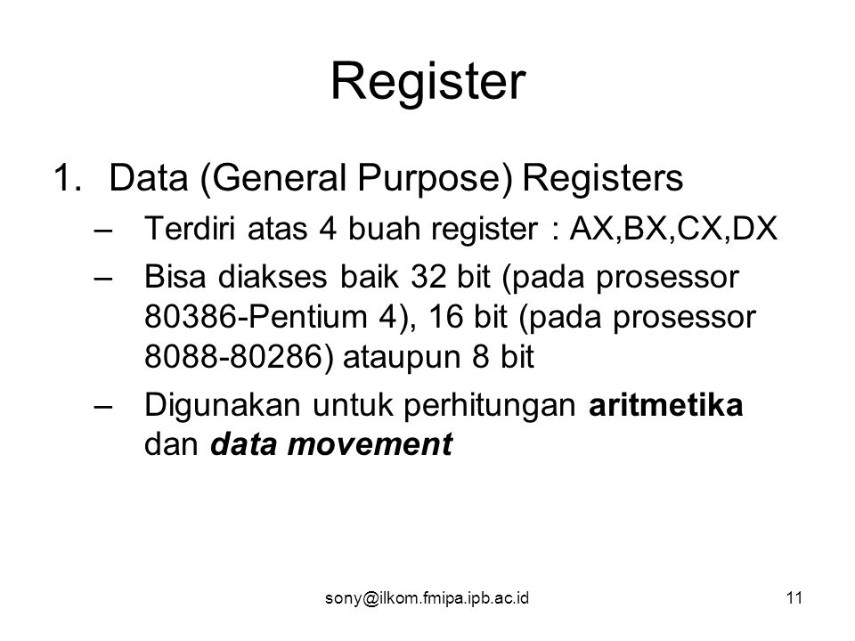 Register Data (General Purpose) Registers