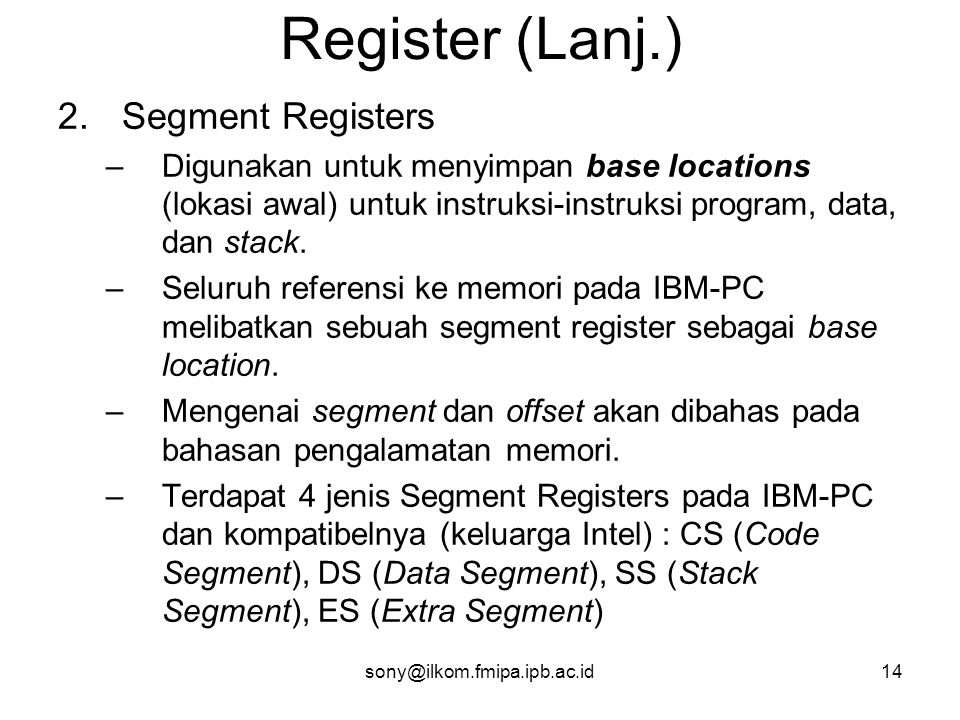 Register (Lanj.) Segment Registers