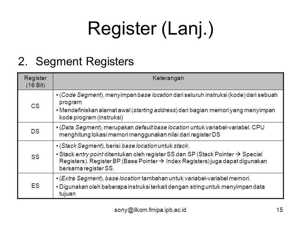 Register (Lanj.) Segment Registers Register (16 Bit) Keterangan CS